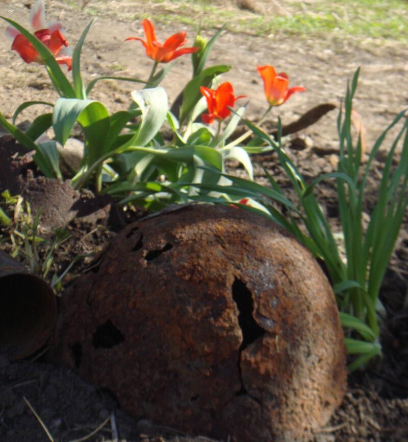 Советская каска на братской могиле