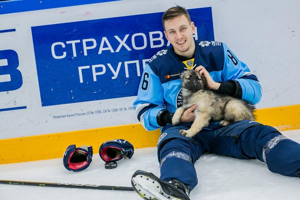 Милые щенки побывали на тренировке хоккейной «Сибири»