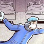 Врач в палате оберегает пациентов от коронавируса на рисунке