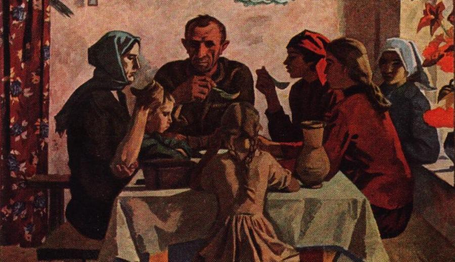 Картина Семья, Виктор Иванов, 1945 г.