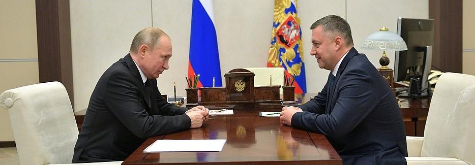 Игорь Кобзев на встрече с Владимиром Путиным, 12 декабря 2019 года