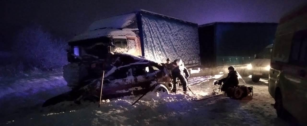 зимняя авария на трассе