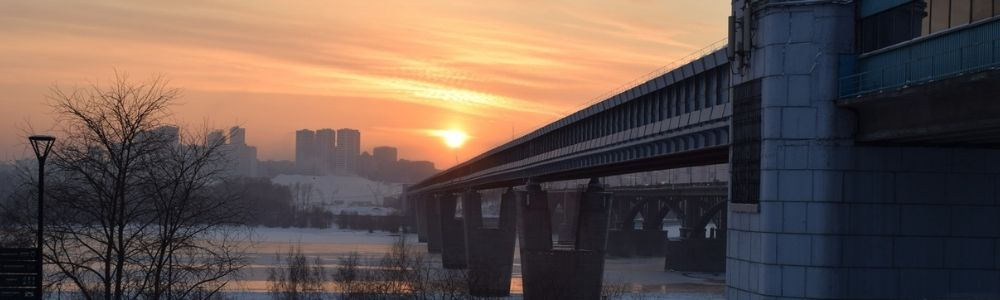 метромост в новосибирске закат