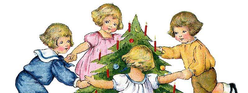 дети вокруг елки карандаш