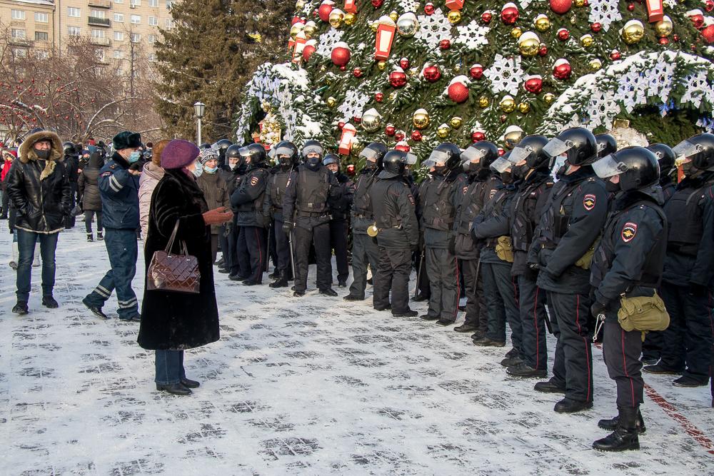 Несанкционированная акция в поддержку Навального в Новосибирске 23 января