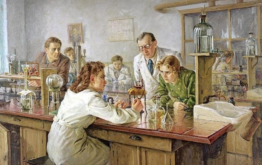 Картина Николая Ульянова «Выполнение тестов в лаборатории» (1951 г.)