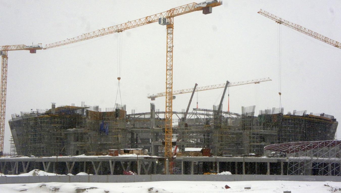 Строящаяся ледовая арена в Новосибирске