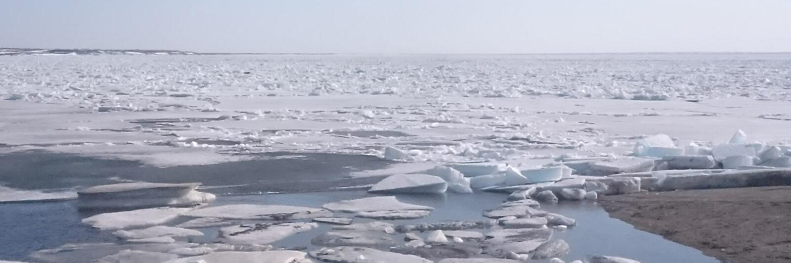 лед, водоем, река