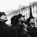 Свердлов, Ленин и Аванесов на открытии памятника Карлу Марксу в 1918 году