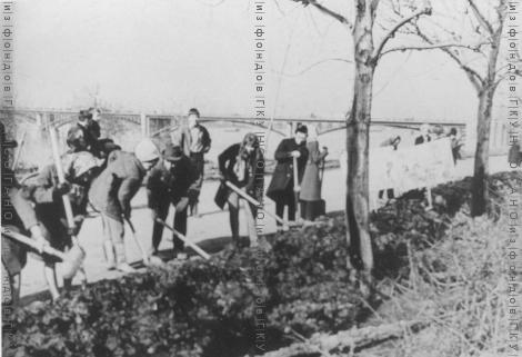 Студенты Новосибирского института связи 21 апреля 1973 г. работали на благоустройстве улицы Большевистской