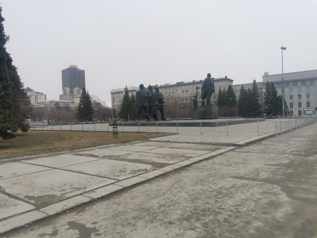 ограждения в центре Новосибирска