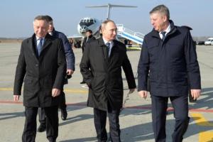 Александр Беглов и Владимир Путин в Брянской области, 8 марта 2017 года