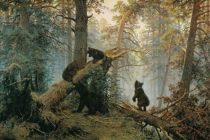 И. И. Шишкин и К. А. Савицкий. «Утро в сосновом лесу»