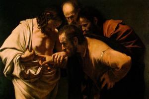 Уверение святого Фомы (картина Караваджо, 1601—1602 годы). На картине Фома изображён дотрагивающимся до ран Христа.
