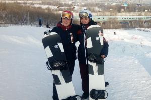 Сноубордистки Кристина Пауль и Мария Васильцова на Горской